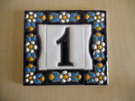 7.5 cm high (1 tile+ 2 borders). Address house tiles of letters and numbers.